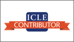 Blue and orange logo with a white background with text that reads ICLE contributor