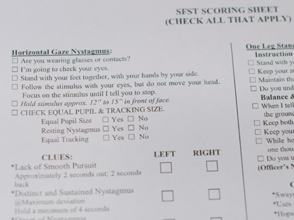 Physical copy of the scoring sheet used by the Michigan State Police to conduct field sobriety tests.