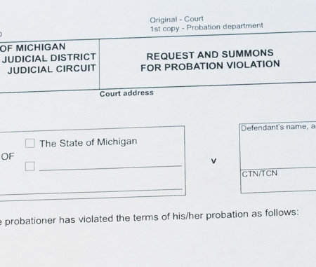 Michigan court document with the title Request and Summons for Probation Violation