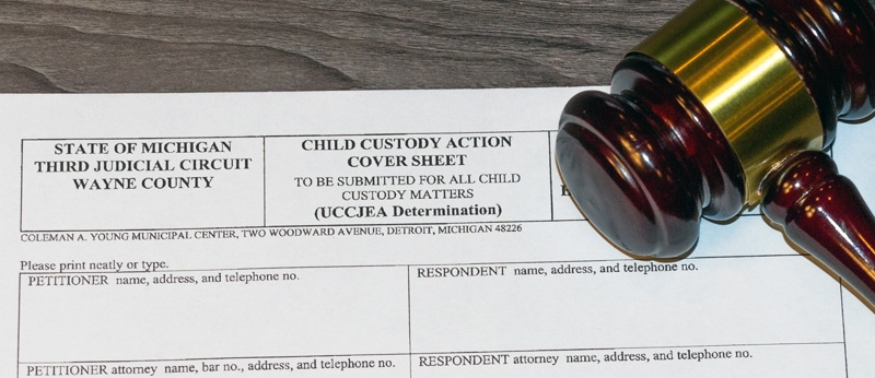 Legal forms titled Child Custody Action Cover Sheet from the State of Michigan Third Judicial Circuit in Wayne County