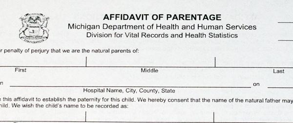 Michigan paternity legal forms titled Affidavit of Parentage