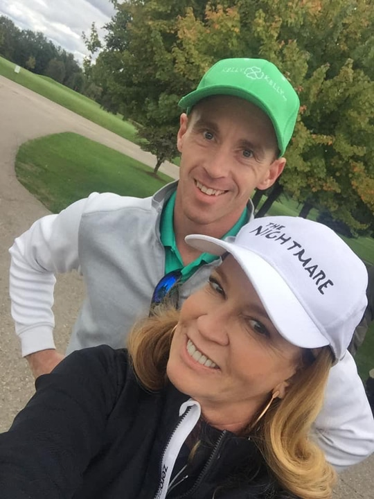 Michele and Mike Kelly in golf attire at the Plymouth Bar Association golf outing