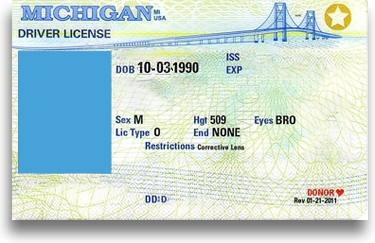 Example of a driver's license in the State of Michigan. It's a white card with the Mackinac Bridge in the background. When this license is suspended, someone must apply for a hardship license to reinstate driving privileges