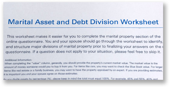 Upper section of a worksheet with blue letters that read marital asset and debt division worksheet