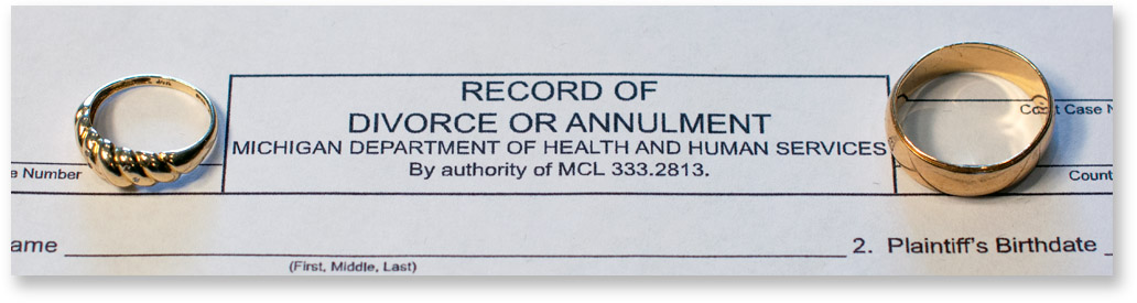 The top of a form used for Michigan divorces that's titled record of divorce or annulment
