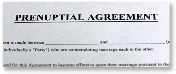 Top section of a legal form that says prenuptial agreement in big bold letters