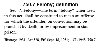 Section of the Michigan Penal Code discussing the definition of a felony