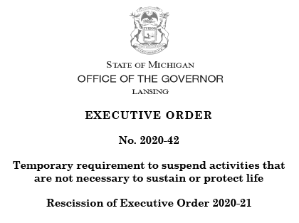 Copy of Michigan executive order 2020 42 requiring residents to suspend non essential activities