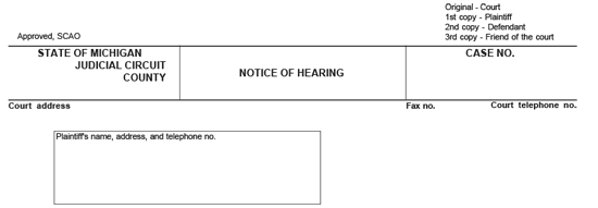 A divorce form used to give notice of hearing to appear in court. The form has blank lines to fill in information such as the judge, plaintiff, defendant, etc.