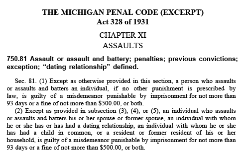 Section of the Michigan Penal Code discussing assault and battery offenses