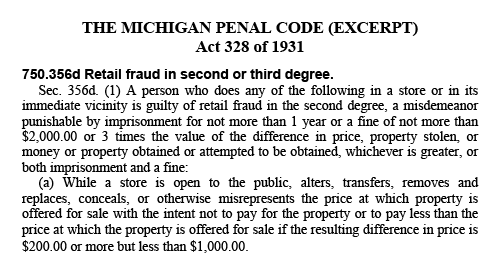 Section of the Michigan Penal Code discussing retail fraud