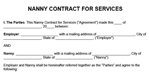 Example of a nanny contract for services with information for both the nanny and employer to fill in.