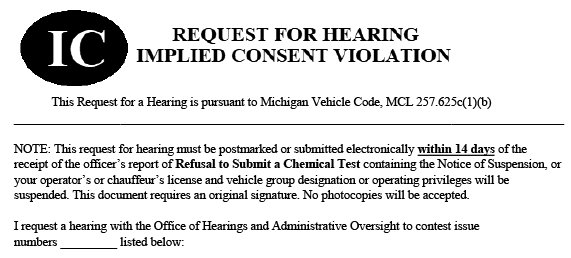 Form used to request a hearing for implied consent violation in Michigan