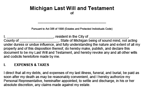 Blank form titled Michigan Last Will and Testament