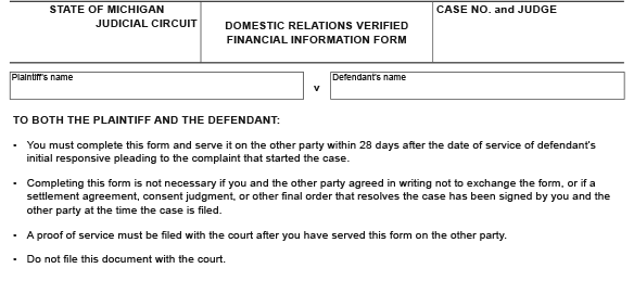 Blank legal form titled Domestic Relations Verified Financial Information Form