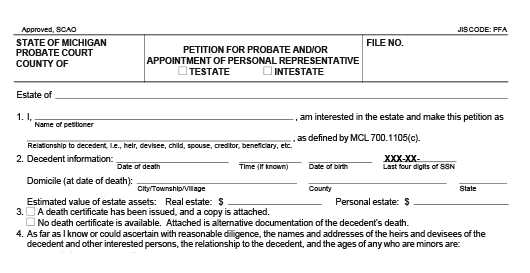 Blank form of a Petition For Probate Administration