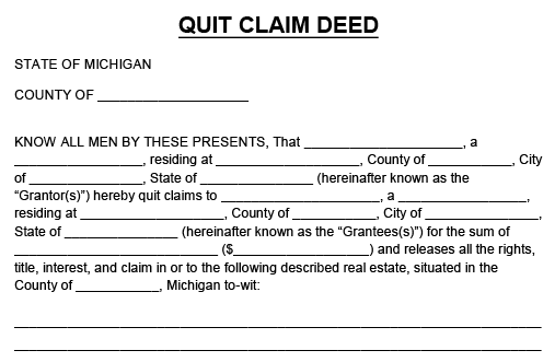 Blank copy of a Quit Claim Deed