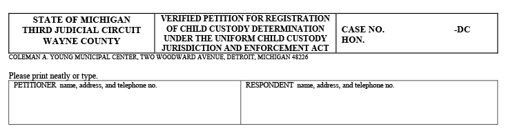 Form used to determine child custody from the Wayne County Friend of The Court
