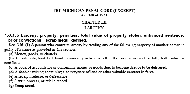 A page showing an excerpt of Michigan larceny laws that's titled The Michigan Penal Code Act 238 of 1931