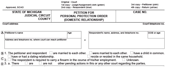 Blank Michigan court document that's titled Form CC 375 Petition for Personal Protection Order Domestic Relationship. This is used to protect victims in a relationship.