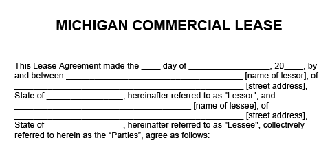 Blank example of a Michigan Commercial Lease Agreement used in real estate transactions