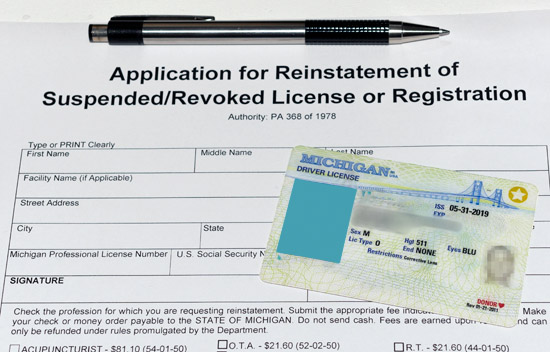 Blank Application for Michigan Drivers License Reinstatement