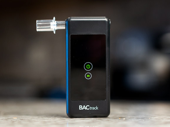 A device used to obtain someone's blood alcohol content for an OWI charge. The device has a small tube for someone to blow on and a monitor that gives a reading of their BAC.